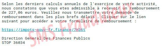 SMS frauduleux des impôts